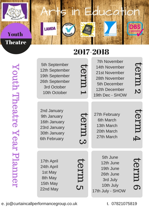 Youth Theatre Year Planner